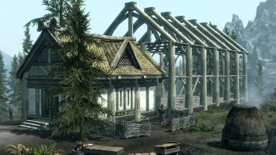 A house being built in Hearthfire DLC