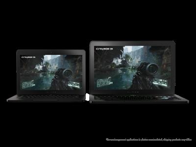 Razer Blade on left and Razer Blade Pro on right